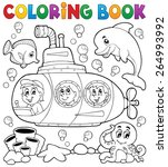 coloring book submarine theme 1 ... | Shutterstock .eps vector #264993992