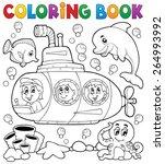 coloring book submarine theme 1 ... | Shutterstock .eps vector #264993992