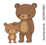brown bear with her cute little ... | Shutterstock .eps vector #265001882