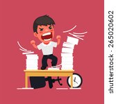 hysterical angry manager... | Shutterstock .eps vector #265020602
