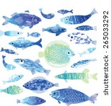 set of fish art | Shutterstock .eps vector #265033292