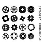 Vector silhouettes of gears, wheels, and rims. - stock vector
