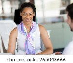 happy and confident young woman ... | Shutterstock . vector #265043666