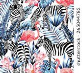 exotic pink flamingo  zebra on... | Shutterstock .eps vector #265044782