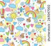 doodle seamless patternan   sky ... | Shutterstock .eps vector #265047002