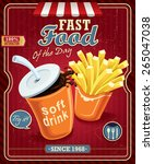 vintage drink   fries poster... | Shutterstock .eps vector #265047038