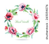 round frame of watercolor pink... | Shutterstock .eps vector #265054076