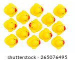 Small photo of Rubber ducklings followed their parents, An individualist is sticking out the crowd