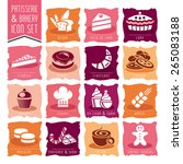 bakery  patisserie icon set | Shutterstock .eps vector #265083188