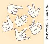 set of cartoon hands and... | Shutterstock .eps vector #265095152