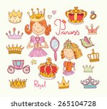 princess crown set  hand drawn... | Shutterstock .eps vector #265104728