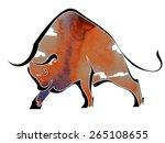 silhouette of  bull isolated on ...   Shutterstock .eps vector #265108655
