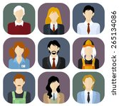 business team flat style icons... | Shutterstock .eps vector #265134086