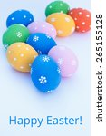 easter eggs on a white... | Shutterstock . vector #265155128