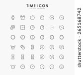 36 time and clock line icons