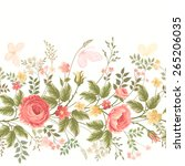 seamless floral border on white ... | Shutterstock .eps vector #265206035