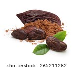 cacao beans and powder isolated ... | Shutterstock . vector #265211282