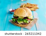 cheeseburger with fries and... | Shutterstock . vector #265211342