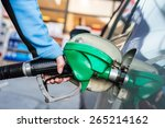 pumping gas at gas station.... | Shutterstock . vector #265214162