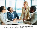 happy businesswoman explaining... | Shutterstock . vector #265217525