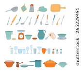 a set of kitchen utensils on a... | Shutterstock .eps vector #265229495