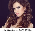 stare. long eyelashes makeup.... | Shutterstock . vector #265259516