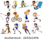 set of boys playing different... | Shutterstock .eps vector #265261496