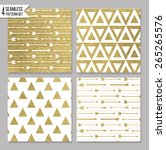 set of 4 gold design card... | Shutterstock .eps vector #265265576