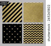 set of 4 gold seamless patterns | Shutterstock .eps vector #265265822