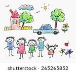 happy family. kids drawings | Shutterstock . vector #265265852
