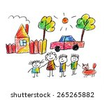 happy family. kids drawings | Shutterstock . vector #265265882