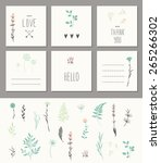 set of 6 cute card templates.... | Shutterstock .eps vector #265266302