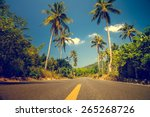 nice asfalt road with palm... | Shutterstock . vector #265268726