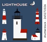 five houselights and seagull | Shutterstock .eps vector #265272326