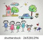 happy family. kids drawings.... | Shutterstock . vector #265281296