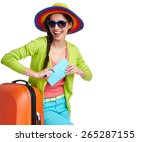 portrait of female tourist with ... | Shutterstock . vector #265287155