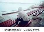 young man sitting on the... | Shutterstock . vector #265295996