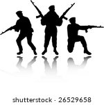 the vector soldiers silhouettes   Shutterstock .eps vector #26529658