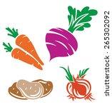 vector vegetable   carrot ... | Shutterstock .eps vector #265302092