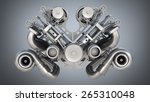 v8 bi turbocharger engine on... | Shutterstock . vector #265310048