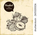 hazelnuts  illustration on... | Shutterstock .eps vector #265320326