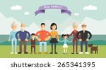 big happy family. parents with... | Shutterstock .eps vector #265341395