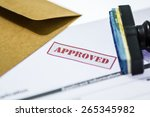 stamp printed on the approved ... | Shutterstock . vector #265345982