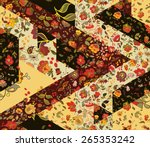 patchwork pattern with flowers. ...