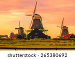 Stock photo fantastic view on windmills in zaanse schans near amsterdam 265380692
