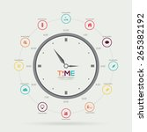 time clock infographic. vector... | Shutterstock .eps vector #265382192