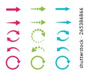 blue  green and pink arrows set ... | Shutterstock .eps vector #265386866
