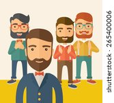 team of four happy hipster... | Shutterstock .eps vector #265400006