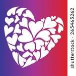 white heart shapes with purple...   Shutterstock .eps vector #265465262