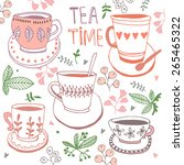 Tea Time Still Life  Set Vector ...